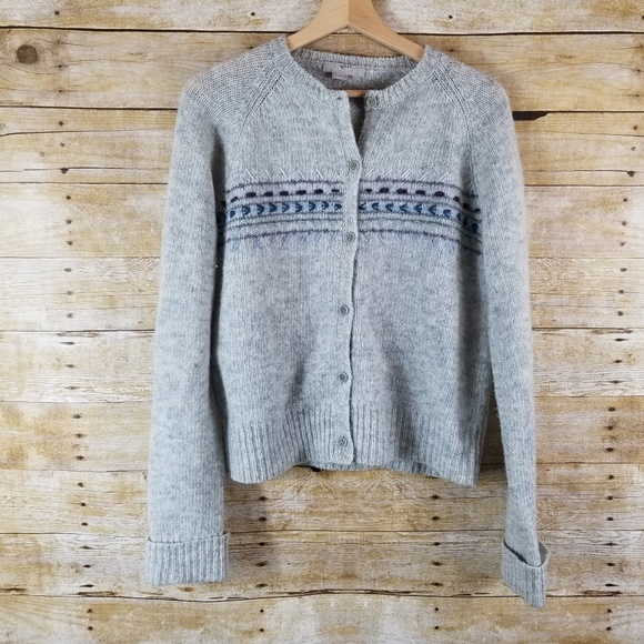 J. Crew Sweaters - J. Crew Cardigan Lambs Wool Sweater Gray Embroider